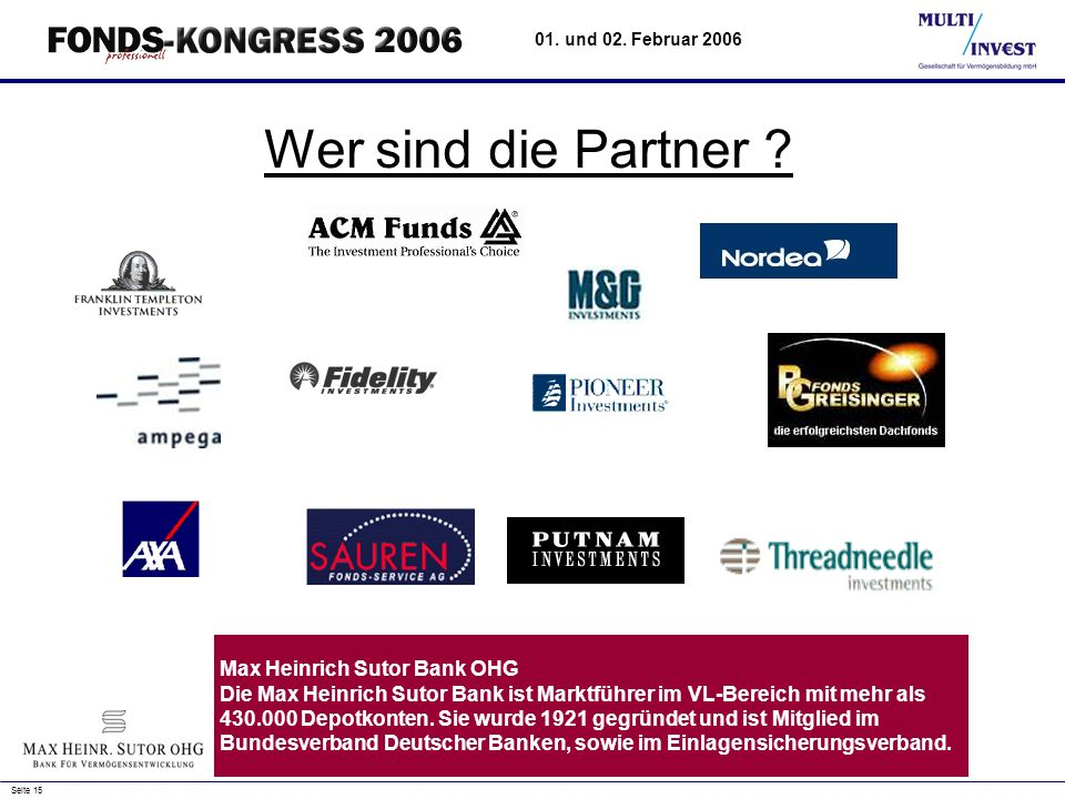 Wer sind die Partner Max Heinrich Sutor Bank OHG