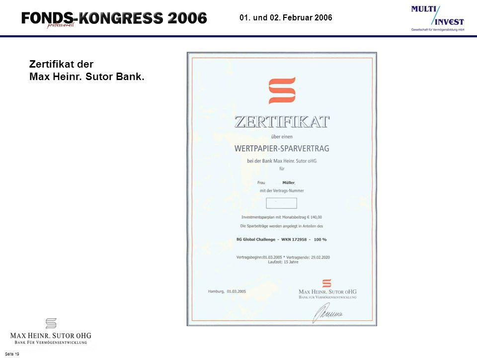 Zertifikat der Max Heinr. Sutor Bank.