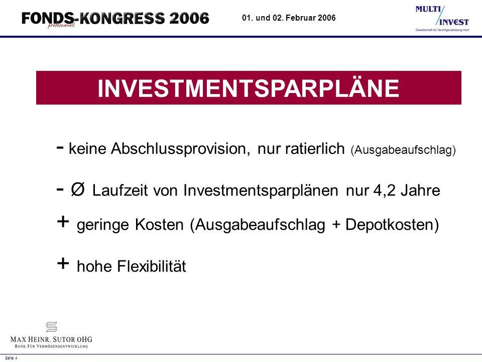 INVESTMENTSPARPLÄNE - keine Abschlussprovision, nur ratierlich (Ausgabeaufschlag) - Ø Laufzeit von Investmentsparplänen nur 4,2 Jahre.