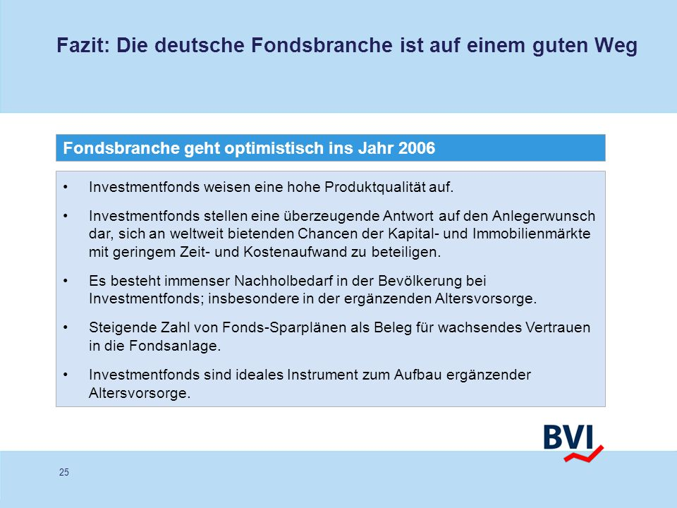 Fazit: Die deutsche Fondsbranche ist auf einem guten Weg