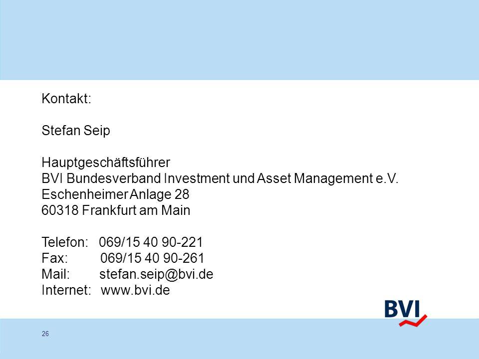 Kontakt:Stefan Seip. Hauptgeschäftsführer. BVI Bundesverband Investment und Asset Management e.V. Eschenheimer Anlage 28.