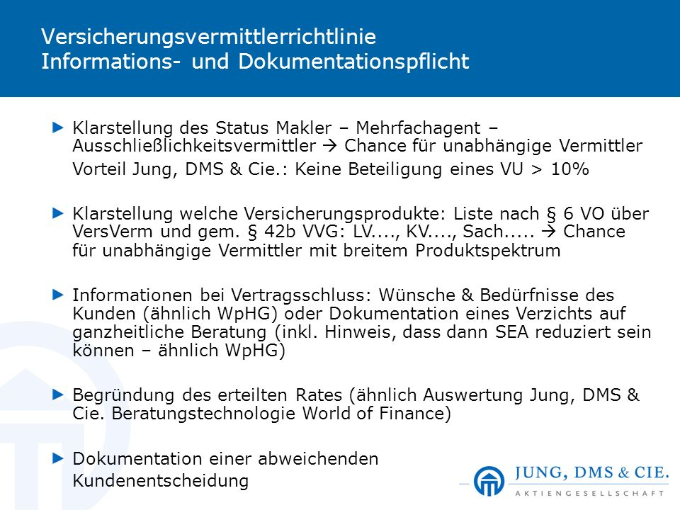 Versicherungsvermittlerrichtlinie Informations- und Dokumentationspflicht