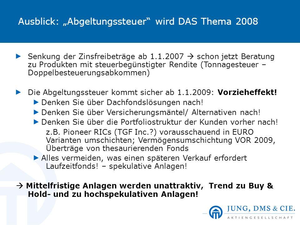 """Ausblick: """"Abgeltungssteuer wird DAS Thema 2008"""