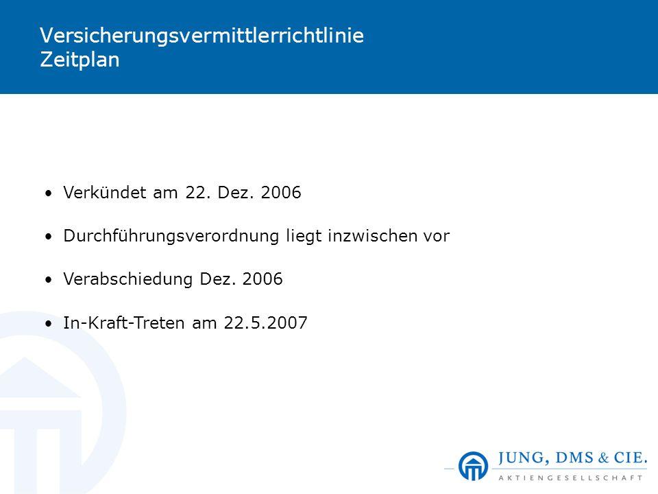 Versicherungsvermittlerrichtlinie Zeitplan