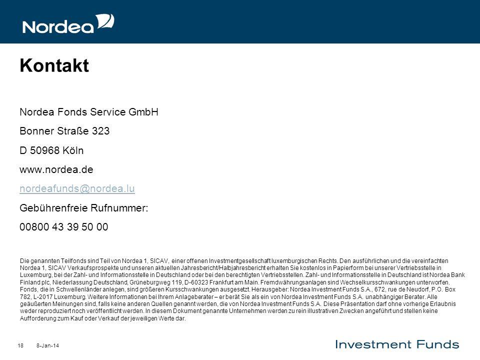 Kontakt Nordea Fonds Service GmbH Bonner Straße 323 D 50968 Köln