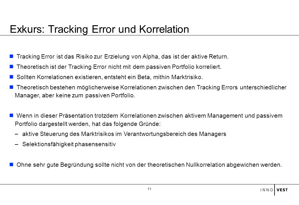 Exkurs: Tracking Error und Korrelation
