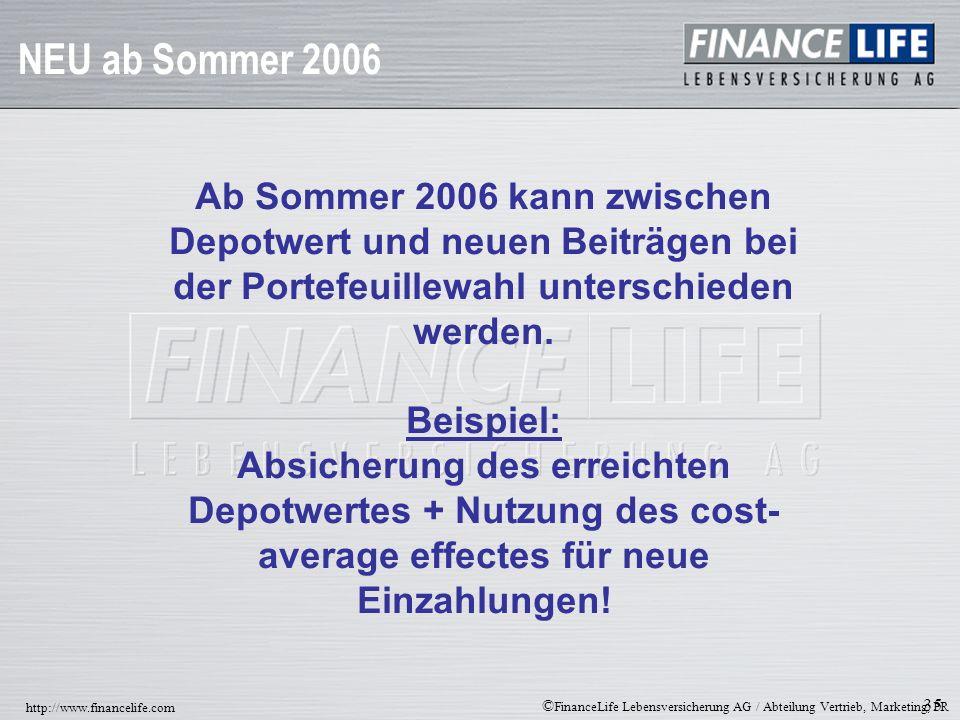NEU ab Sommer 2006Ab Sommer 2006 kann zwischen Depotwert und neuen Beiträgen bei der Portefeuillewahl unterschieden werden.