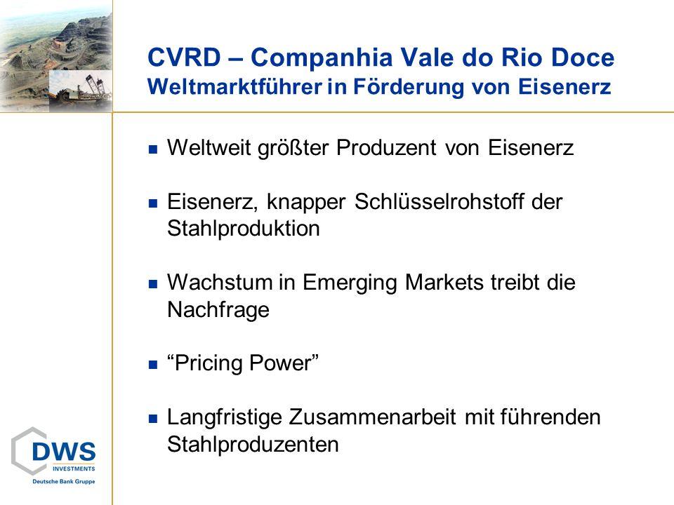 CVRD – Companhia Vale do Rio Doce Weltmarktführer in Förderung von Eisenerz