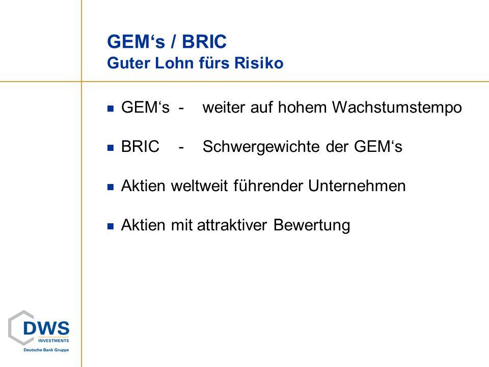 GEM's / BRIC Guter Lohn fürs Risiko
