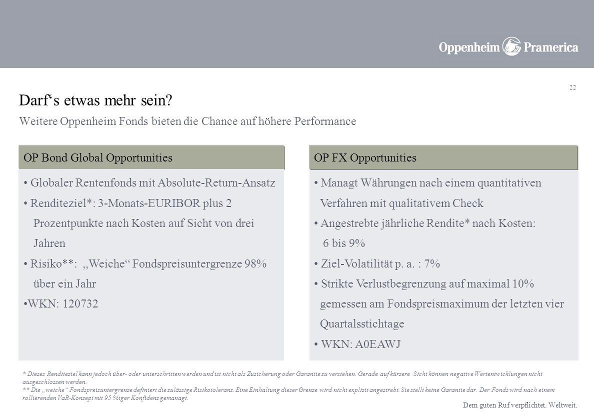 Darf's etwas mehr sein Weitere Oppenheim Fonds bieten die Chance auf höhere Performance. OP Bond Global Opportunities.