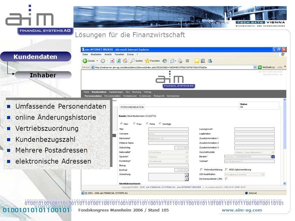 Umfassende Personendaten online Änderungshistorie Vertriebszuordnung