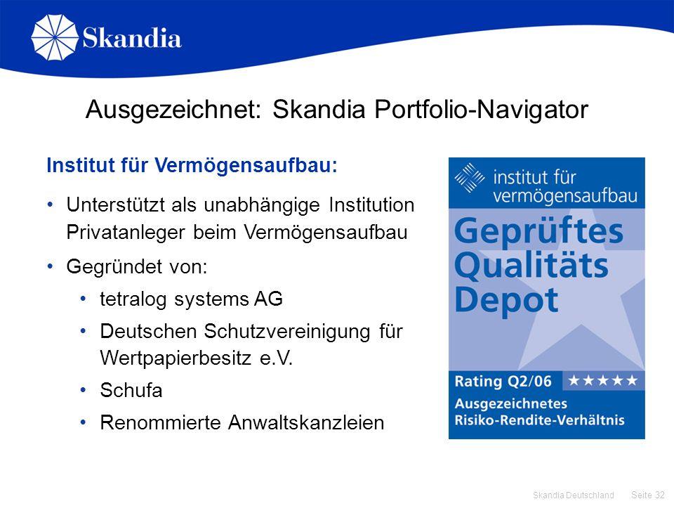 Ausgezeichnet: Skandia Portfolio-Navigator