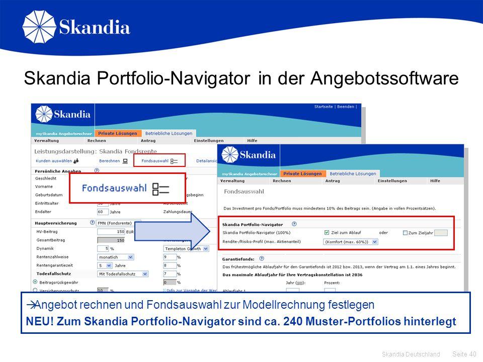 Skandia Portfolio-Navigator in der Angebotssoftware