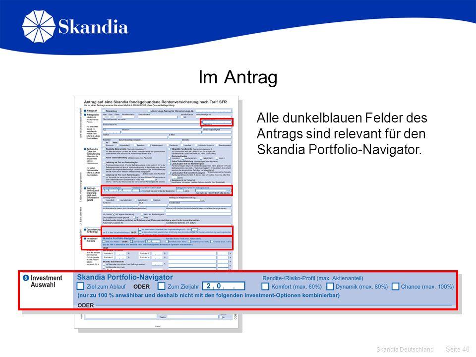 Im Antrag Alle dunkelblauen Felder des Antrags sind relevant für den Skandia Portfolio-Navigator. Verkaufsgespräch.
