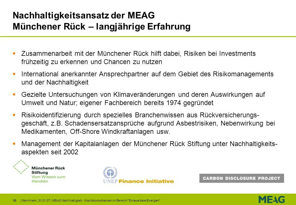 Nachhaltigkeitsansatz der MEAG Münchener Rück – langjährige Erfahrung