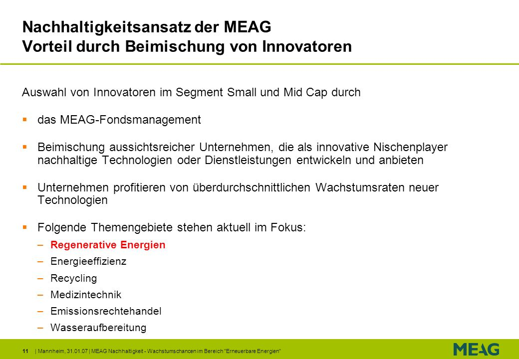 Nachhaltigkeitsansatz der MEAG Vorteil durch Beimischung von Innovatoren