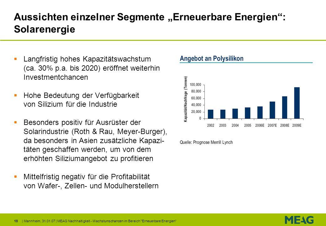 """Aussichten einzelner Segmente """"Erneuerbare Energien : Solarenergie"""