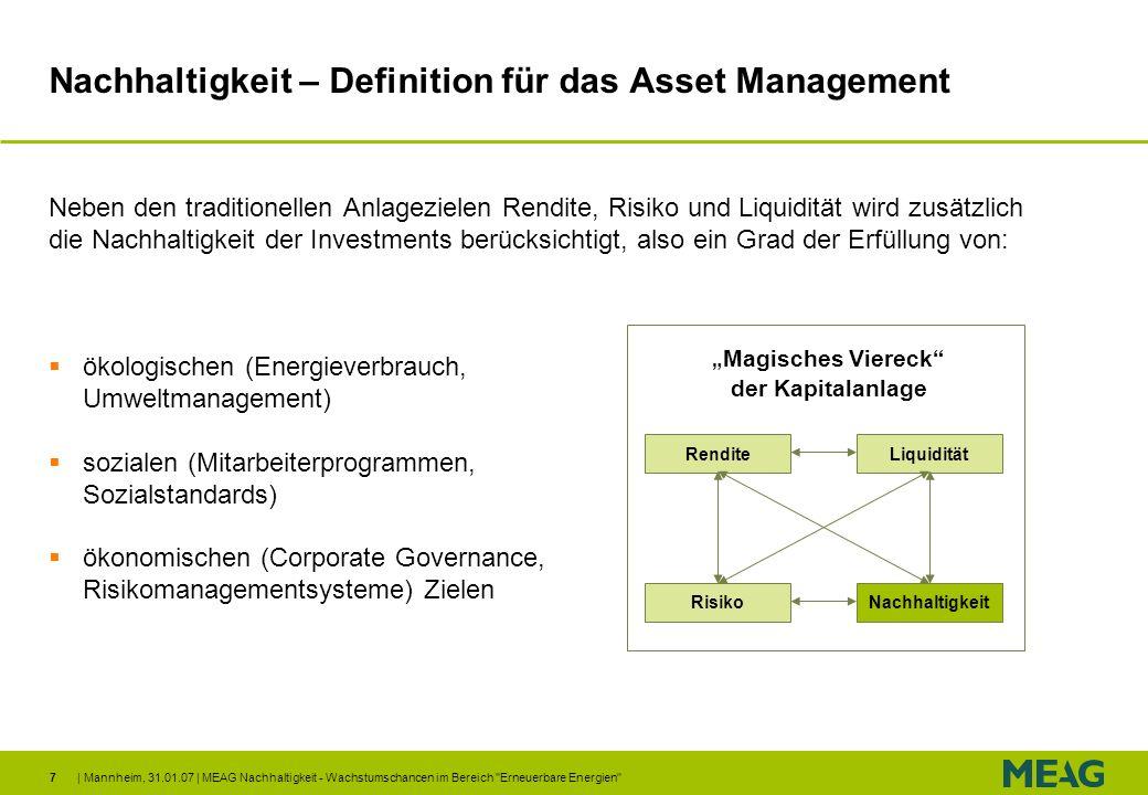 Nachhaltigkeit – Definition für das Asset Management