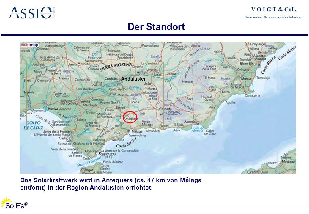 Der Standort Andalusien. Das Solarkraftwerk wird in Antequera (ca.