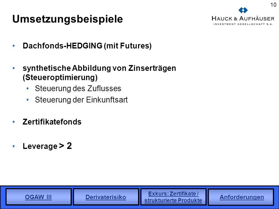 Umsetzungsbeispiele Dachfonds-HEDGING (mit Futures)