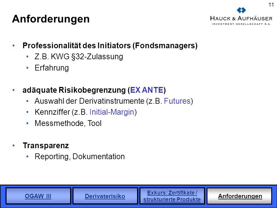 Anforderungen Professionalität des Initiators (Fondsmanagers)