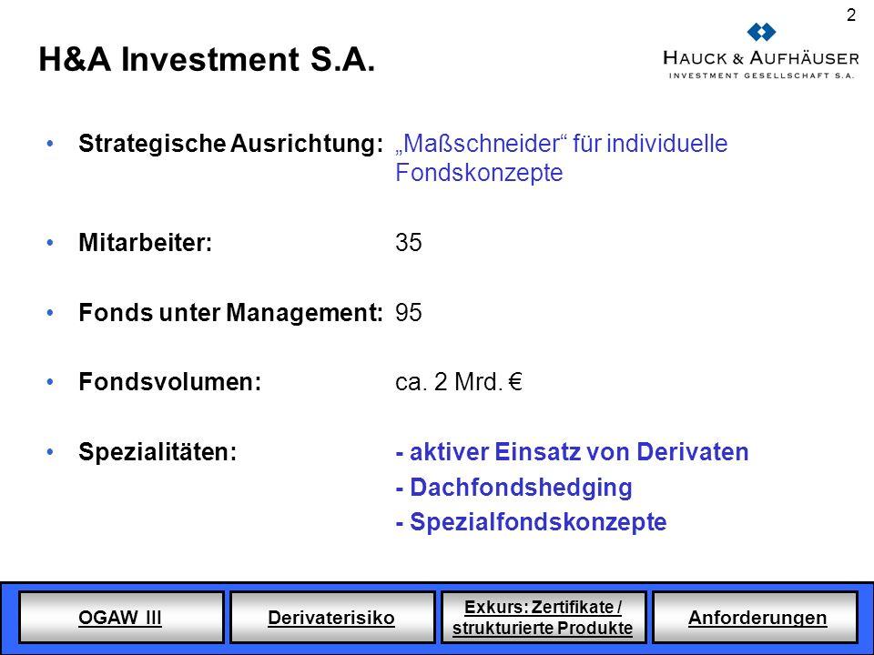 """H&A Investment S.A.Strategische Ausrichtung: """"Maßschneider für individuelle Fondskonzepte. Mitarbeiter: 35."""