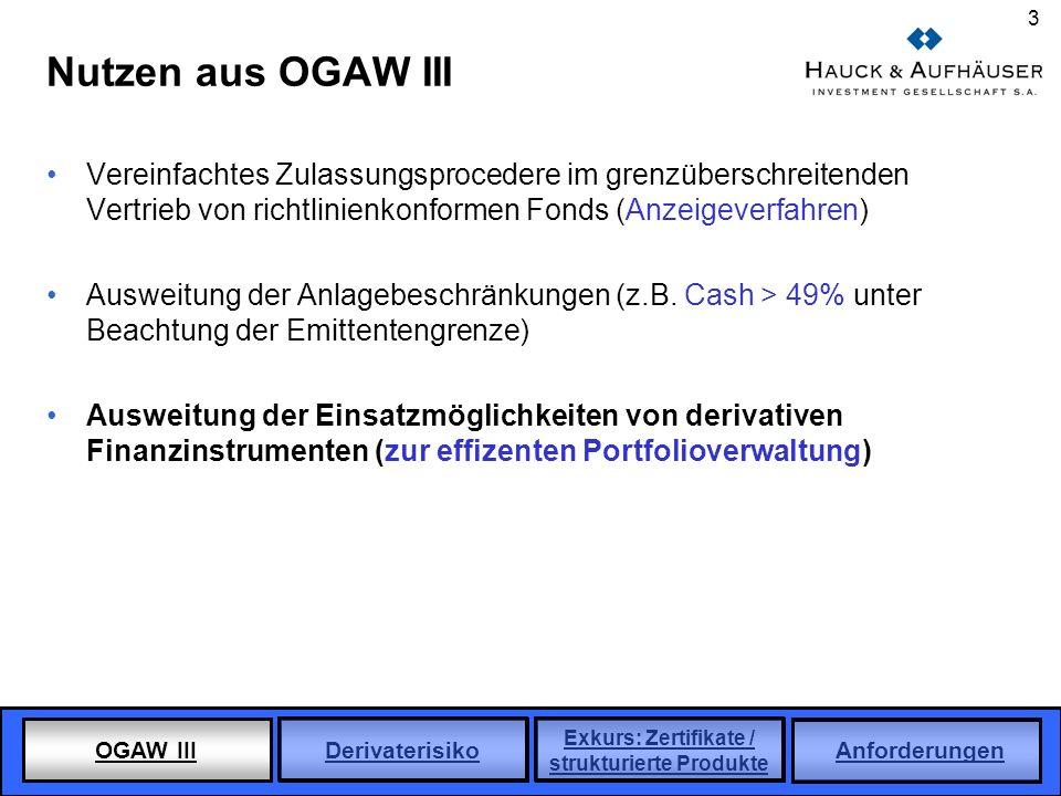 Nutzen aus OGAW III Vereinfachtes Zulassungsprocedere im grenzüberschreitenden Vertrieb von richtlinienkonformen Fonds (Anzeigeverfahren)