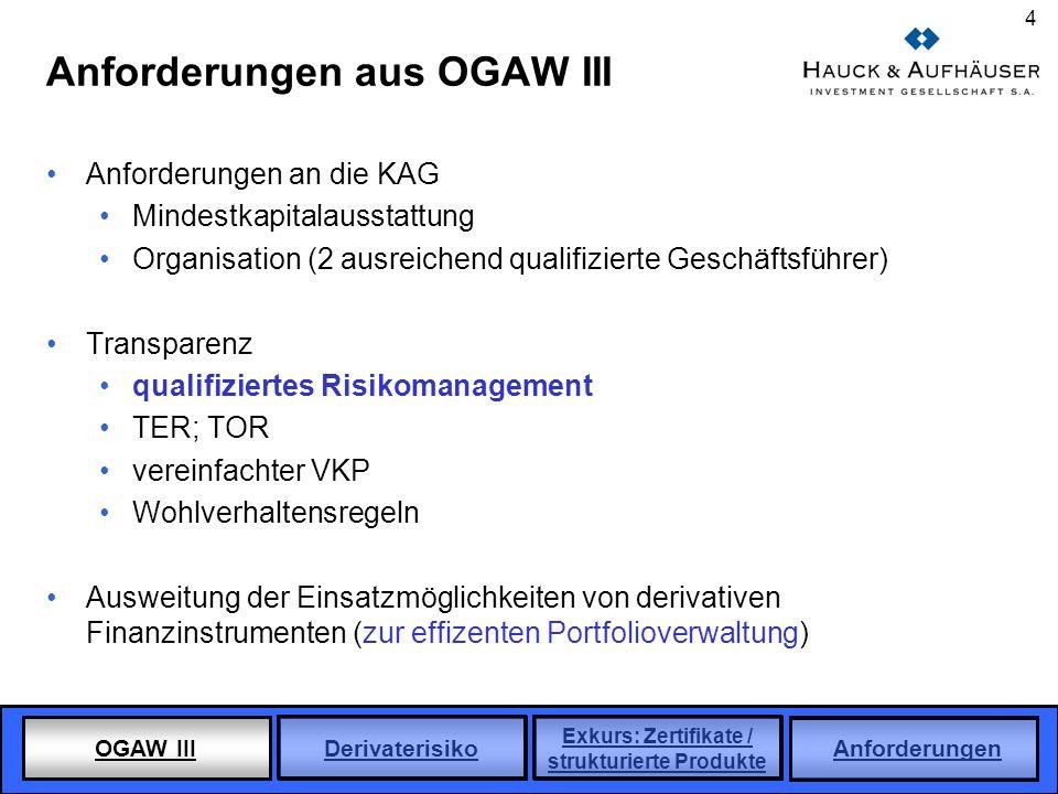 Anforderungen aus OGAW III