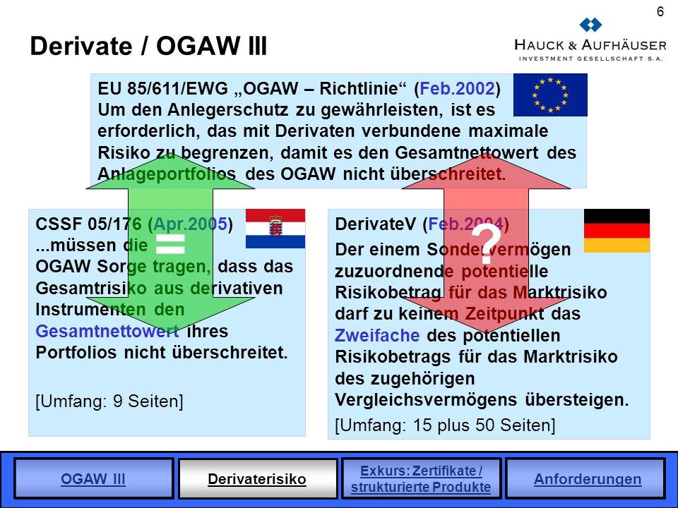 """= Derivate / OGAW III EU 85/611/EWG """"OGAW – Richtlinie (Feb.2002)"""