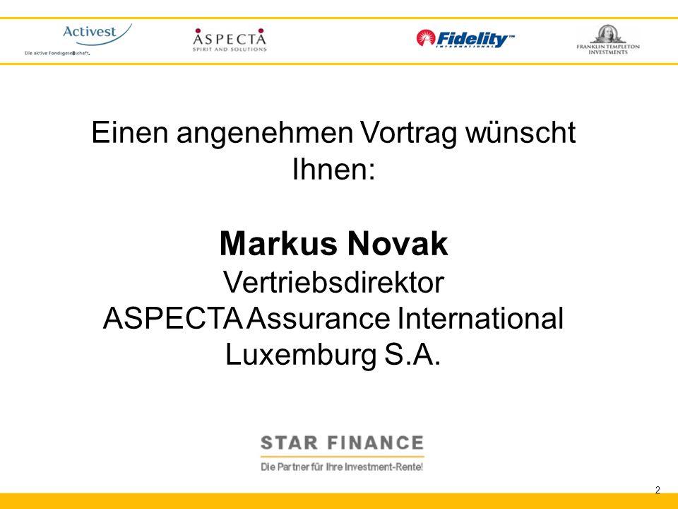 Markus Novak Einen angenehmen Vortrag wünscht Ihnen: Vertriebsdirektor