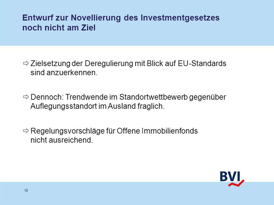 Entwurf zur Novellierung des Investmentgesetzes noch nicht am Ziel