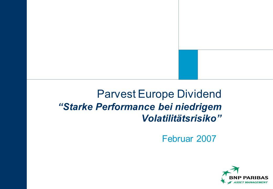 Parvest Europe Dividend Starke Performance bei niedrigem Volatilitätsrisiko