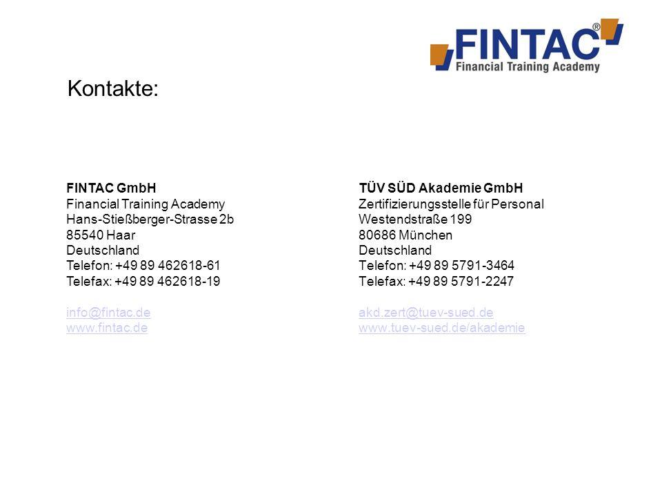 Kontakte: FINTAC GmbH Financial Training Academy