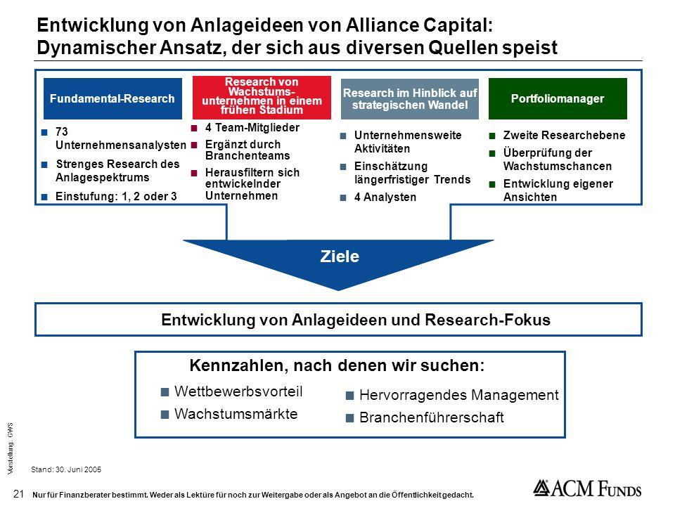 Entwicklung von Anlageideen von Alliance Capital: Dynamischer Ansatz, der sich aus diversen Quellen speist