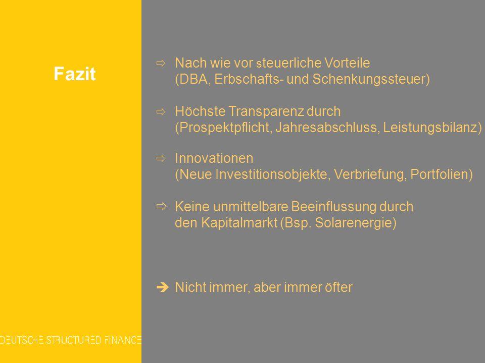 Fazit (Neue Investitionsobjekte, Verbriefung, Portfolien)