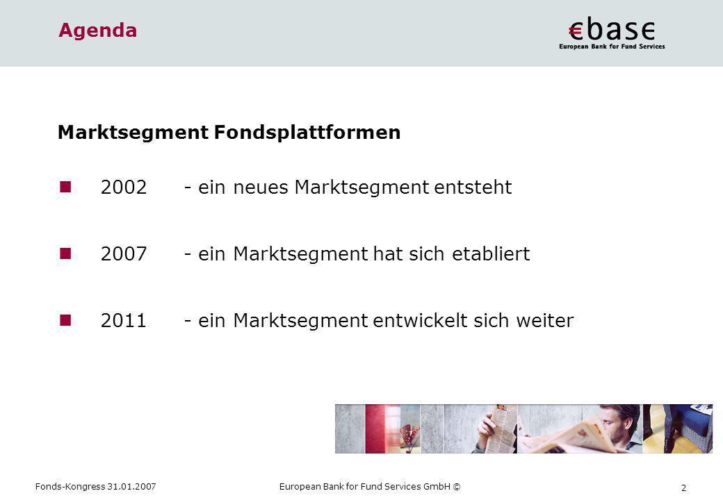 AgendaMarktsegment Fondsplattformen. 2002 - ein neues Marktsegment entsteht. 2007 - ein Marktsegment hat sich etabliert.