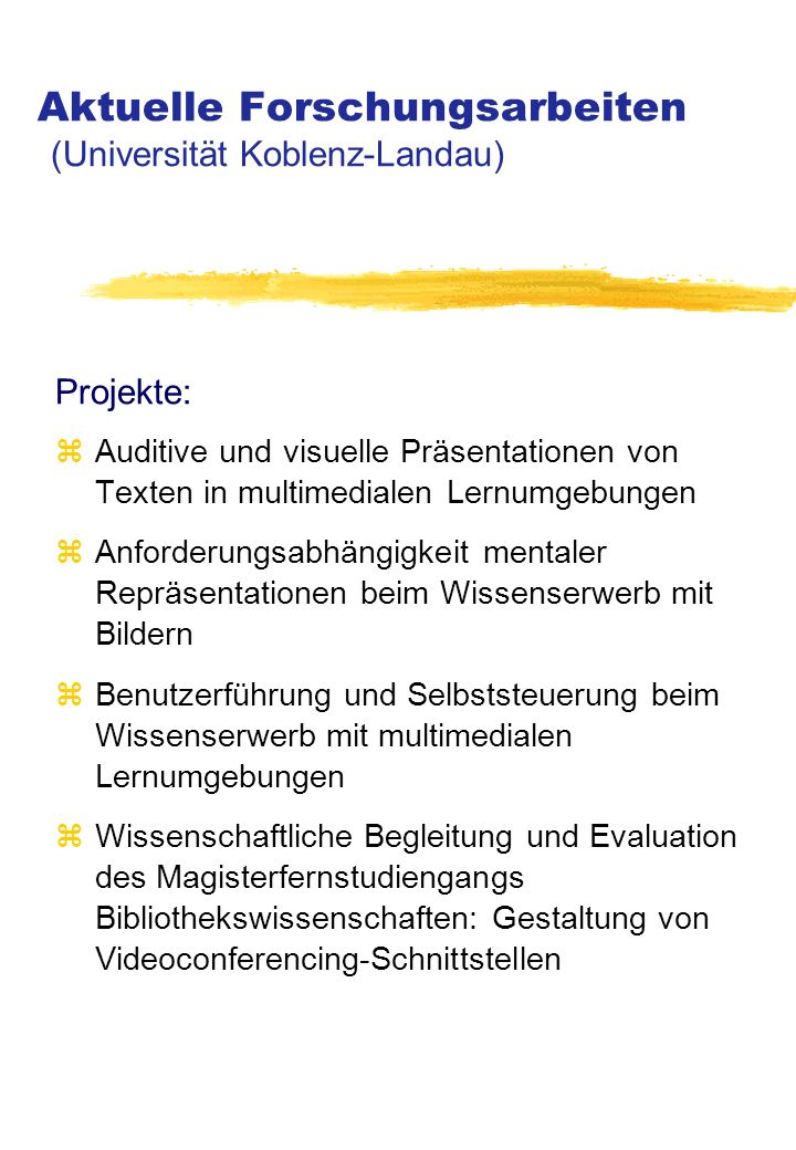 Aktuelle Forschungsarbeiten (Universität Koblenz-Landau)