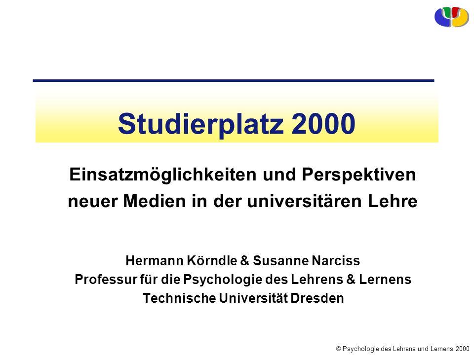 Studierplatz 2000 Einsatzmöglichkeiten und Perspektiven