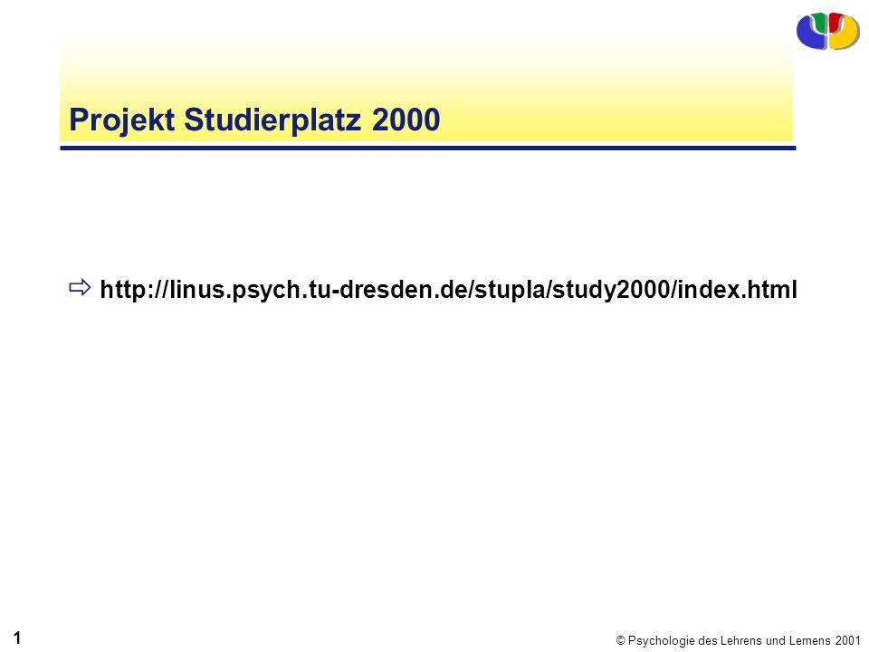 Projekt Studierplatz 2000 http://linus.psych.tu-dresden.de/stupla/study2000/index.html