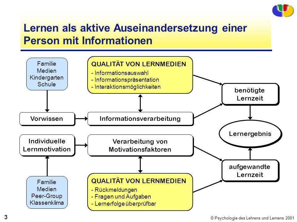Lernen als aktive Auseinandersetzung einer Person mit Informationen