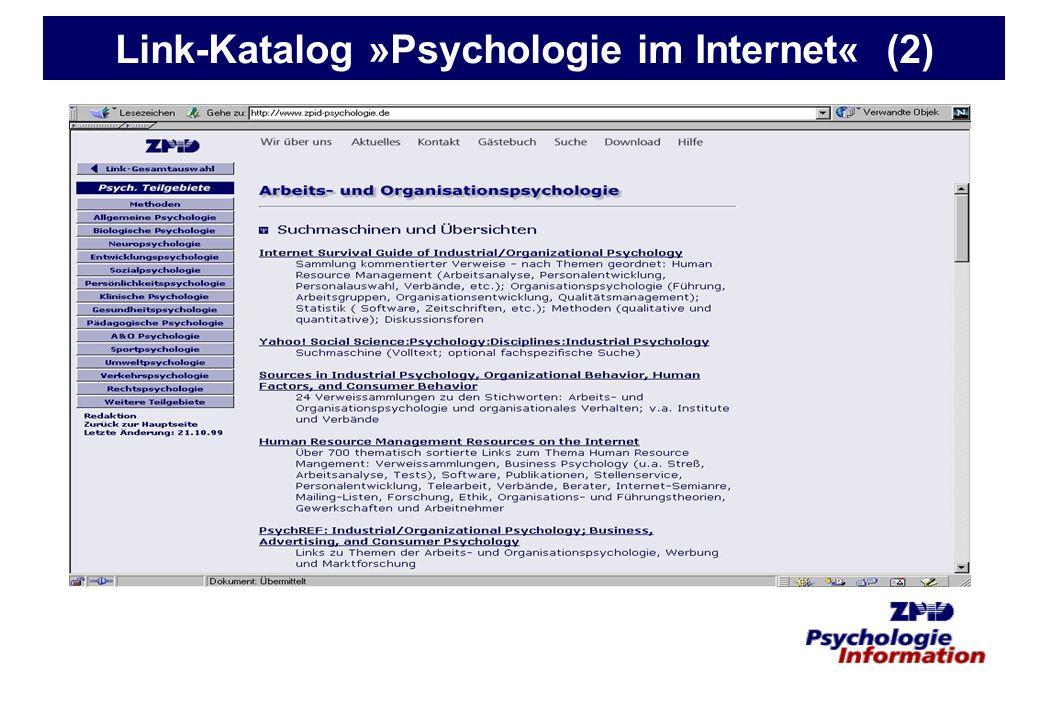 Link-Katalog »Psychologie im Internet« (2)