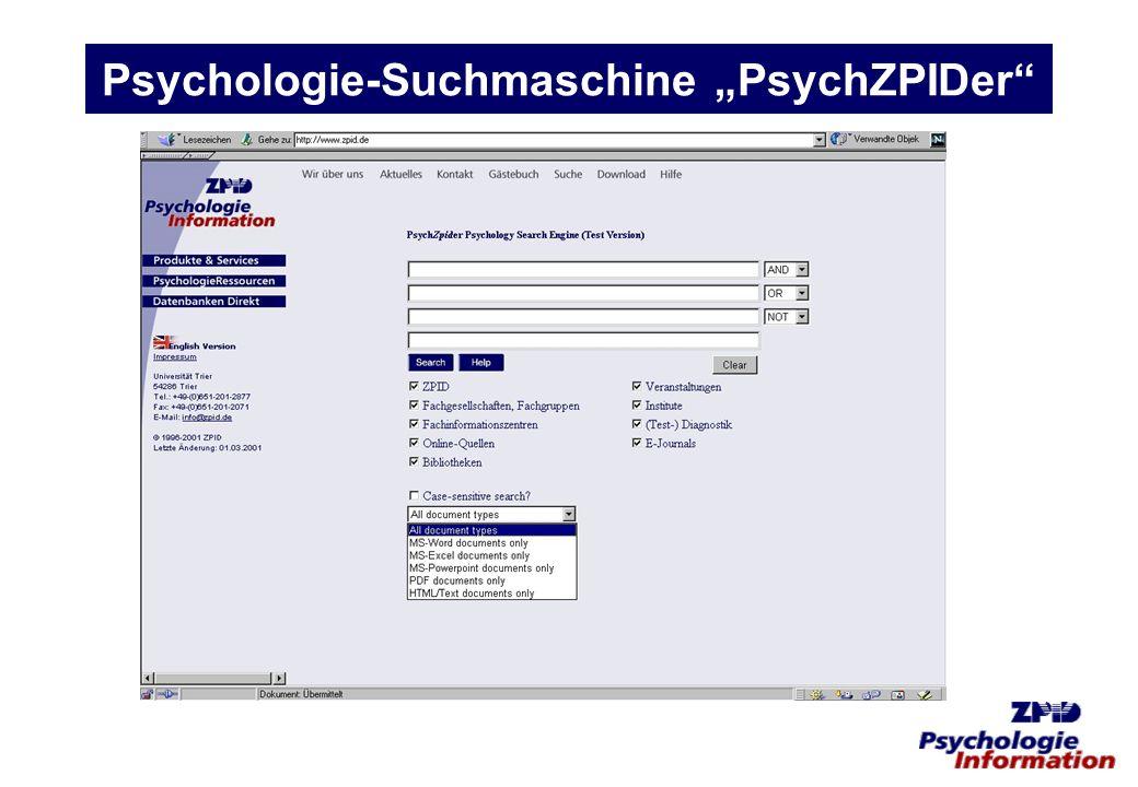 """Psychologie-Suchmaschine """"PsychZPIDer"""