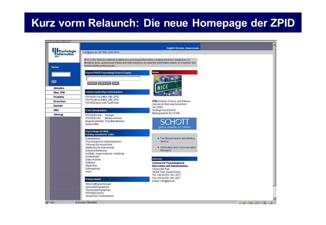Kurz vorm Relaunch: Die neue Homepage der ZPID