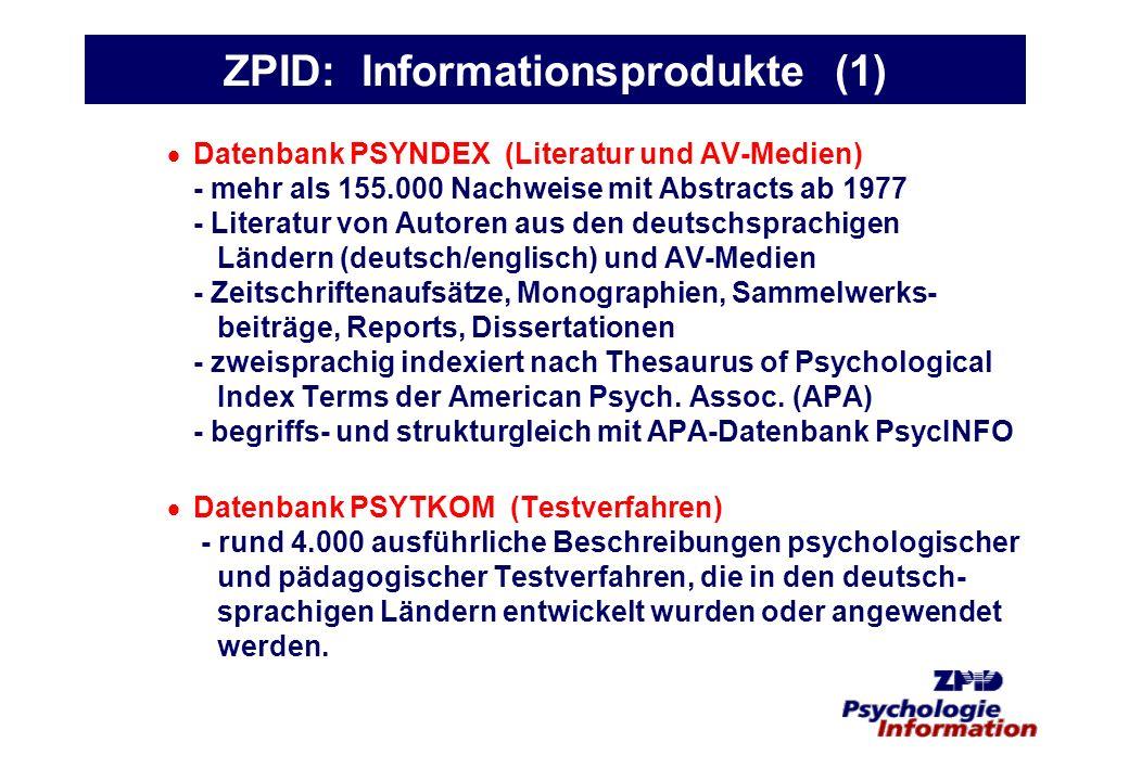 ZPID: Informationsprodukte (1)