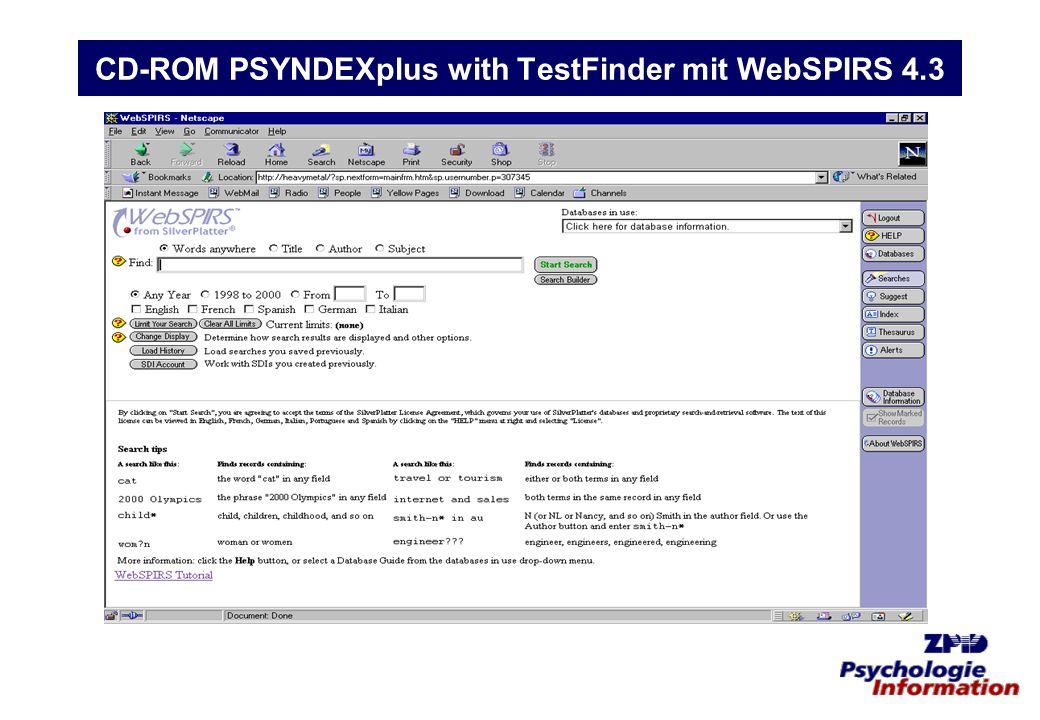 CD-ROM PSYNDEXplus with TestFinder mit WebSPIRS 4.3