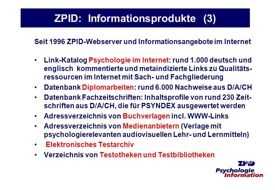 ZPID: Informationsprodukte (3)