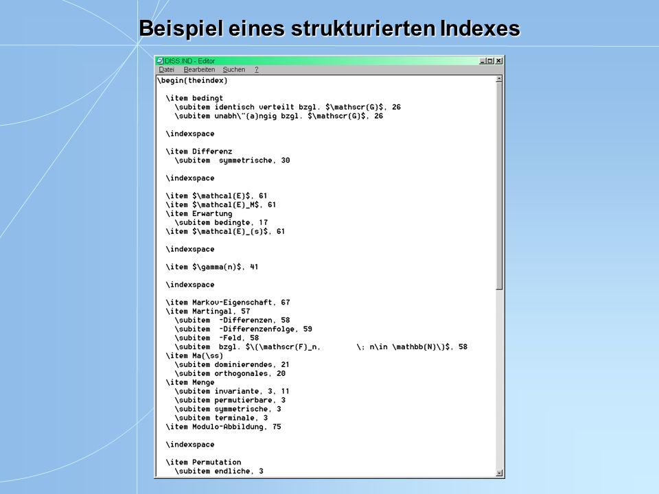 Beispiel eines strukturierten Indexes