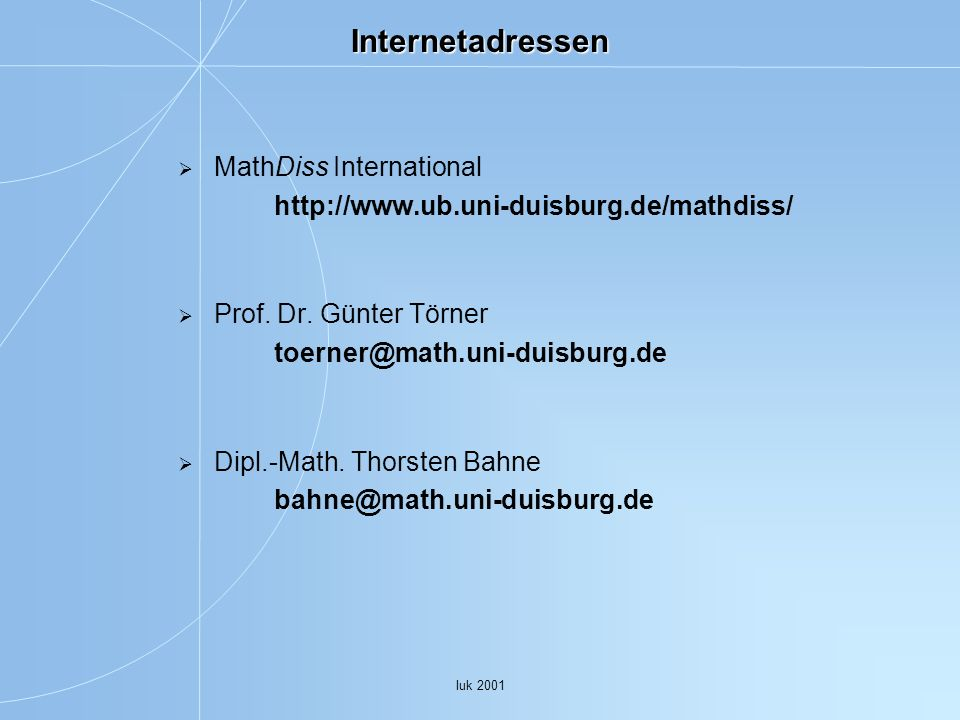Internetadressen MathDiss International   Prof. Dr. Günter Törner