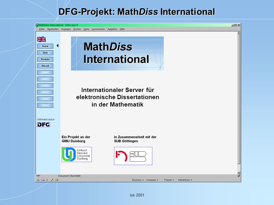DFG-Projekt: MathDiss International