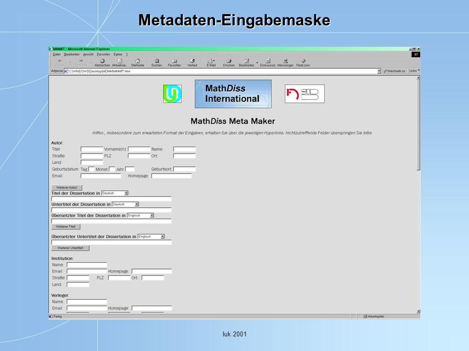 Metadaten-Eingabemaske